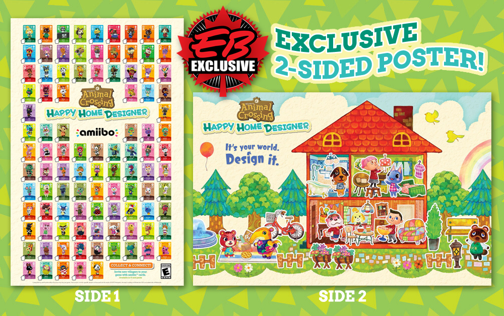 Exclusive 2 sided poster with animal crossing happy home - Happy home designer amiibo figures ...