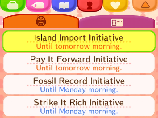 List of Weekly and Daily Town Initiatives (Quests / Missions)