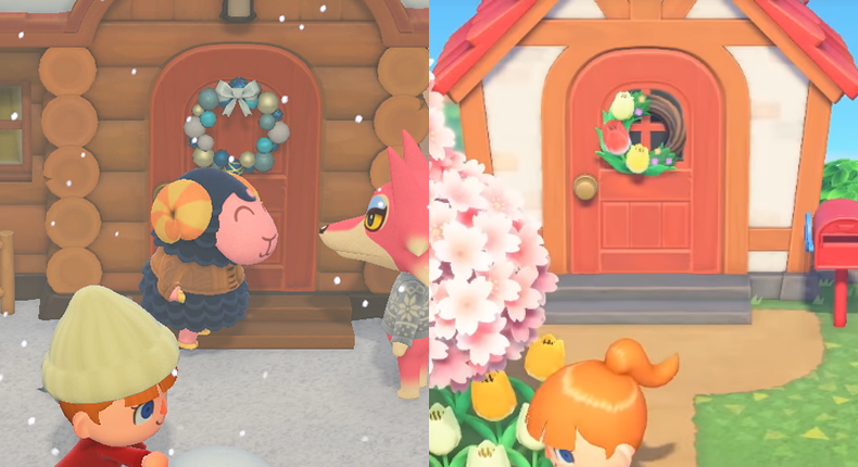 animal crossing new horizons door wreaths