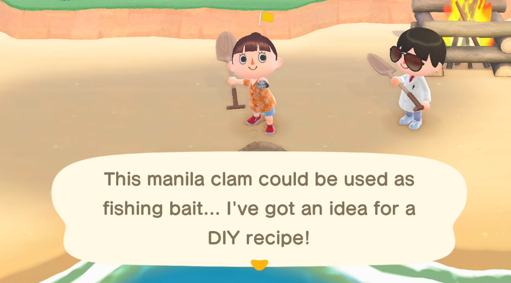 animal crossing new horizons clam diy recipe