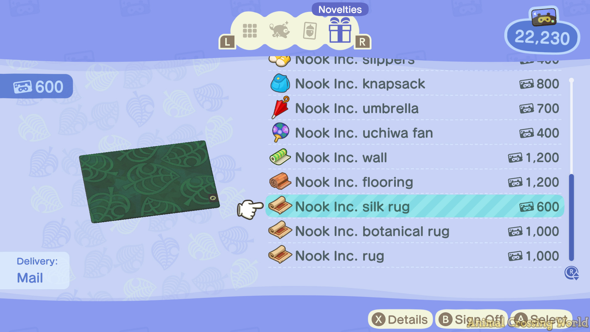 Nook Inc Silk Rug In Animal Crossing