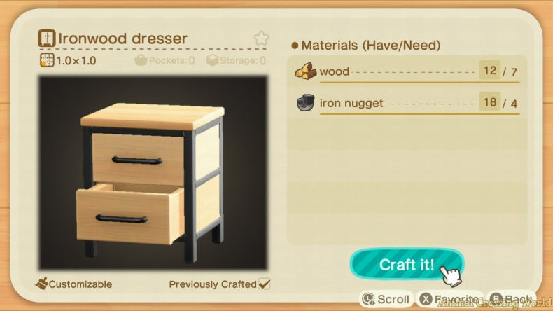 Ironwood Furniture Set: How to Craft & Get All Items ... on Ironwood Dresser Animal Crossing  id=63506