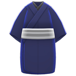 Casual Kimono Item with Dark Blue Variation in Animal Crossing: New Horizons