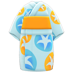 Morning-Glory Yukata Item with Aqua Variation in Animal Crossing: New Horizons