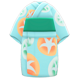 Morning-Glory Yukata Item with Pale Green Variation in Animal Crossing: New Horizons