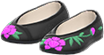 Embroidered Shoes Item with Black Variation in Animal Crossing: New Horizons