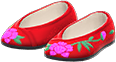 Embroidered Shoes Item with Red Variation in Animal Crossing: New Horizons