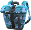 Foldover-Top Backpack Item with Blue Variation in Animal Crossing: New Horizons