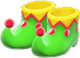 Jester's Shoes Item with Green Variation in Animal Crossing: New Horizons