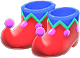 Jester's Shoes Item with Red Variation in Animal Crossing: New Horizons