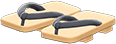 Kimono Sandals Item with Black Variation in Animal Crossing: New Horizons