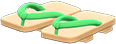 Kimono Sandals Item with Green Variation in Animal Crossing: New Horizons