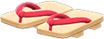Kimono Sandals Item with Red Variation in Animal Crossing: New Horizons