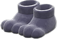 Paw Slippers Item with Black Variation in Animal Crossing: New Horizons