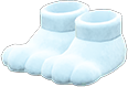 Paw Slippers Item with White Variation in Animal Crossing: New Horizons