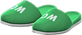 Restroom Slippers Item with Green Variation in Animal Crossing: New Horizons