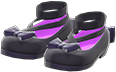 Shiny Bow Platform Shoes Item with Black Variation in Animal Crossing: New Horizons