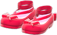 Shiny Bow Platform Shoes Item with Red Variation in Animal Crossing: New Horizons