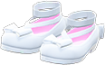 Shiny Bow Platform Shoes Item with White Variation in Animal Crossing: New Horizons