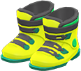 Ski Boots Item with Lime Variation in Animal Crossing: New Horizons