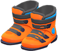Ski Boots Item with Orange Variation in Animal Crossing: New Horizons