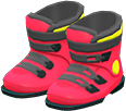 Ski Boots Item with Red Variation in Animal Crossing: New Horizons