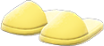 Slippers Item with Yellow Variation in Animal Crossing: New Horizons