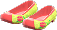 Traditional Flower Shoes Item with Lime Variation in Animal Crossing: New Horizons