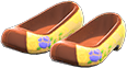 Traditional Flower Shoes Item with Yellow Variation in Animal Crossing: New Horizons