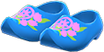 Wooden Clogs Item with Blue Variation in Animal Crossing: New Horizons
