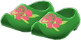 Wooden Clogs Item with Green Variation in Animal Crossing: New Horizons