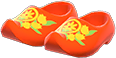 Wooden Clogs Item with Red Variation in Animal Crossing: New Horizons