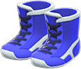 Wrestling Shoes Item with Blue Variation in Animal Crossing: New Horizons