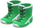 Wrestling Shoes Item with Green Variation in Animal Crossing: New Horizons