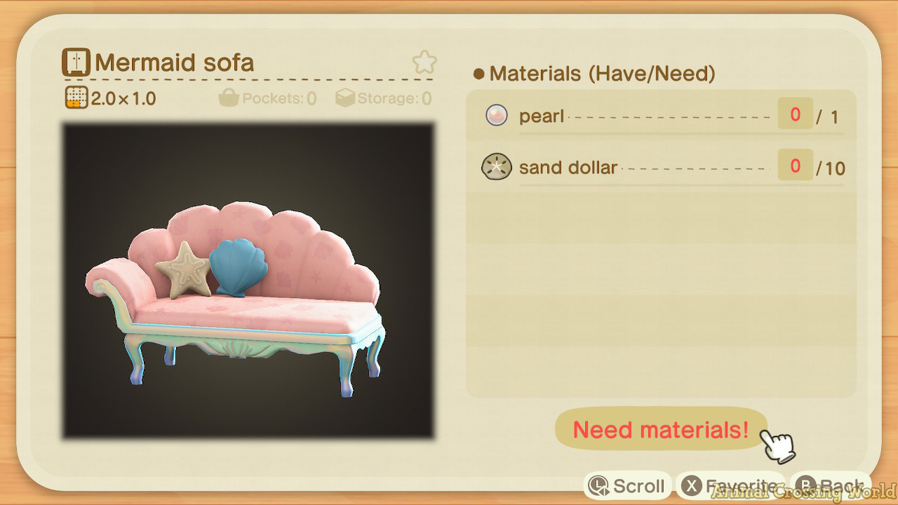 Pascal S Mermaid Set Furniture Diy Crafting Recipes Clothing Items For Animal Crossing New Horizons